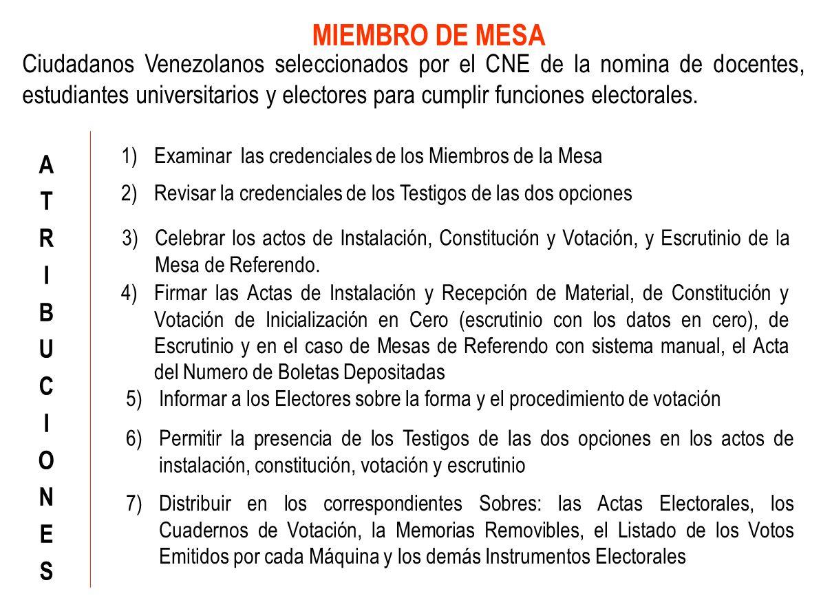 Ciudadanos Venezolanos seleccionados por el CNE de la nomina de docentes, estudiantes universitarios y electores para cumplir funciones electorales.