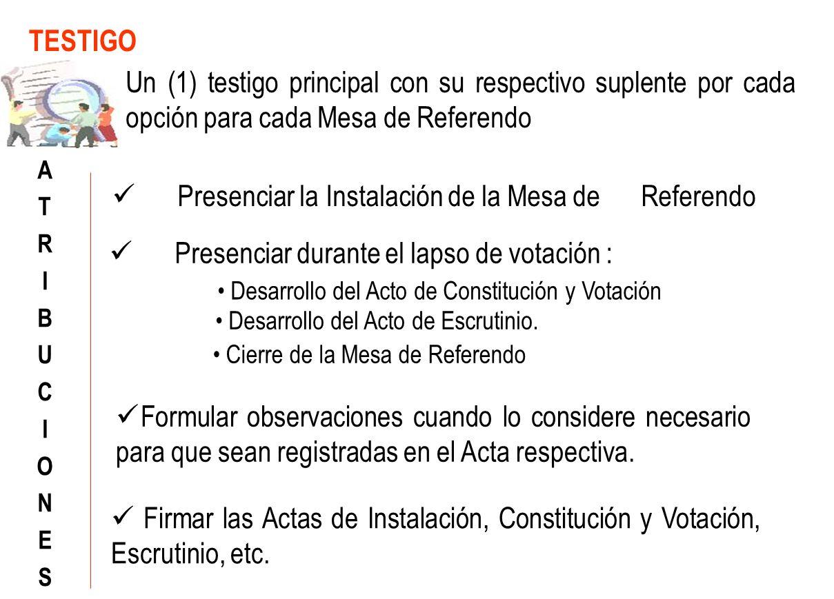 Presenciar durante el lapso de votación : TESTIGO ATRIBUCIONESATRIBUCIONES Un (1) testigo principal con su respectivo suplente por cada opción para cada Mesa de Referendo Desarrollo del Acto de Constitución y Votación Desarrollo del Acto de Escrutinio.