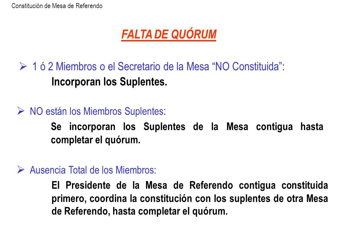 FALTA DE QUÓRUM 1 ó 2 Miembros o el Secretario de la Mesa NO Constituida: Incorporan los Suplentes. NO están los Miembros Suplentes : Se incorporan lo