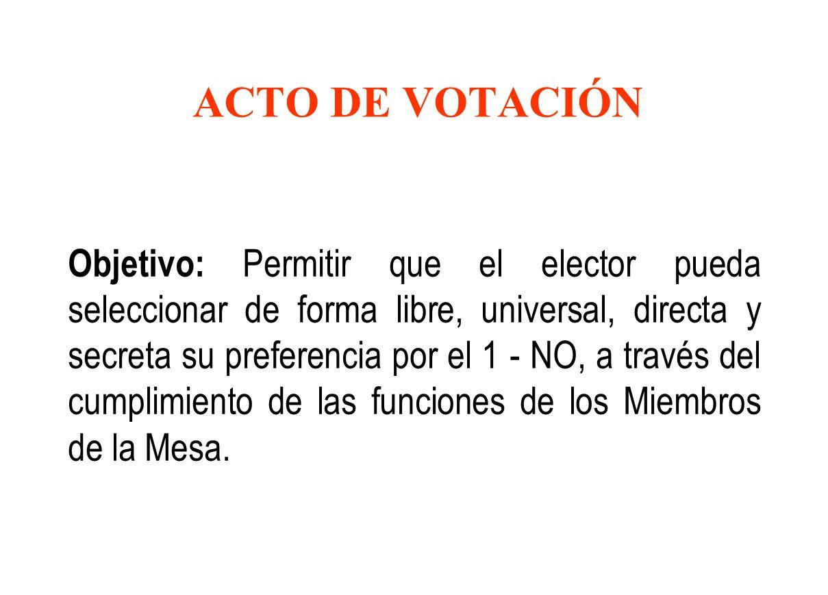 ACTO DE VOTACIÓN Objetivo: Permitir que el elector pueda seleccionar de forma libre, universal, directa y secreta su preferencia por el 1 - NO, a través del cumplimiento de las funciones de los Miembros de la Mesa.