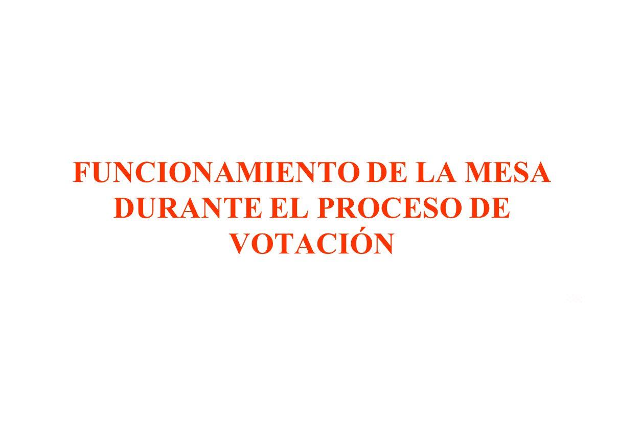 FUNCIONAMIENTO DE LA MESA DURANTE EL PROCESO DE VOTACIÓN