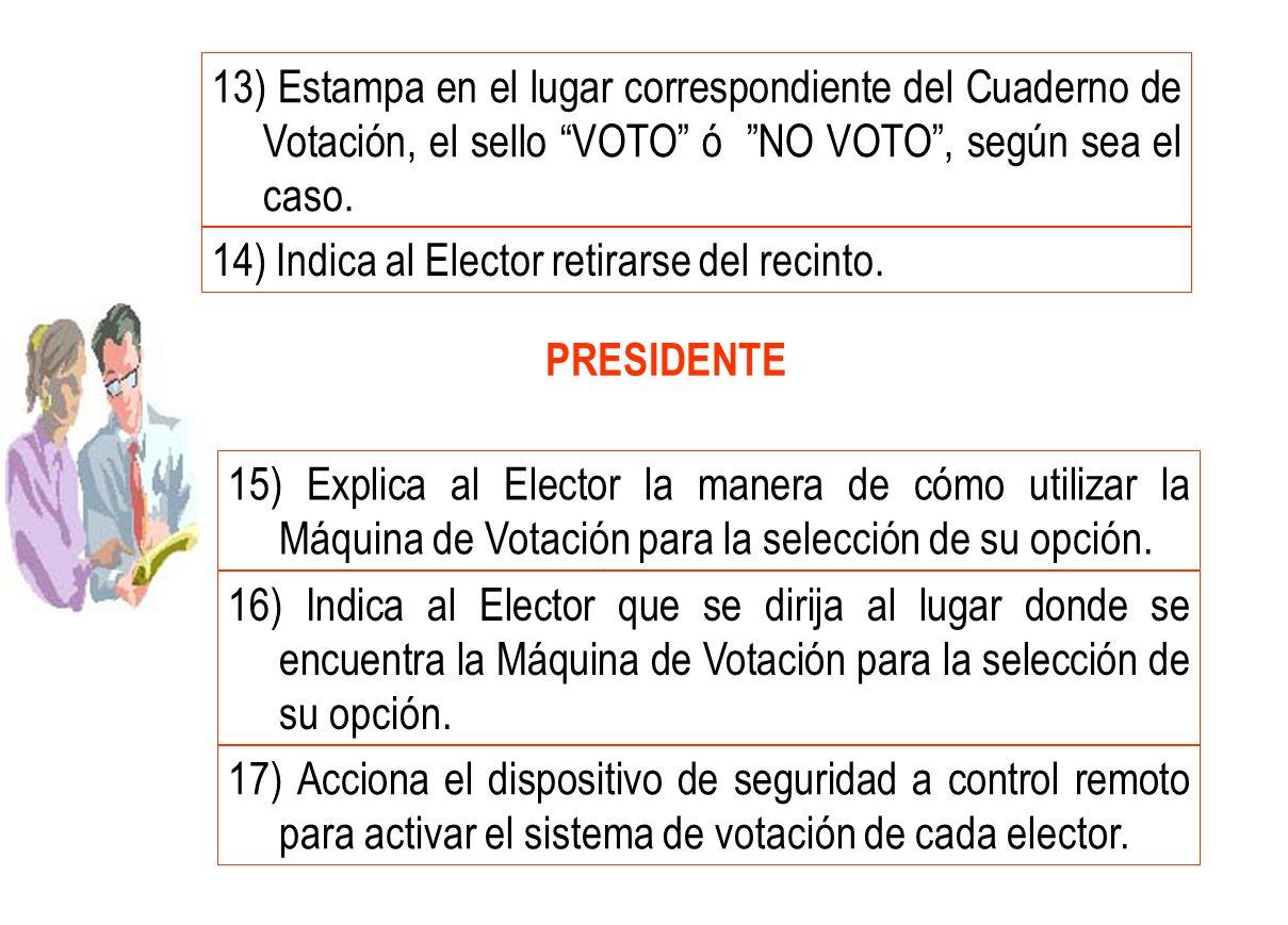 PRESIDENTE 15) Explica al Elector la manera de cómo utilizar la Máquina de Votación para la selección de su opción. 16) Indica al Elector que se dirij
