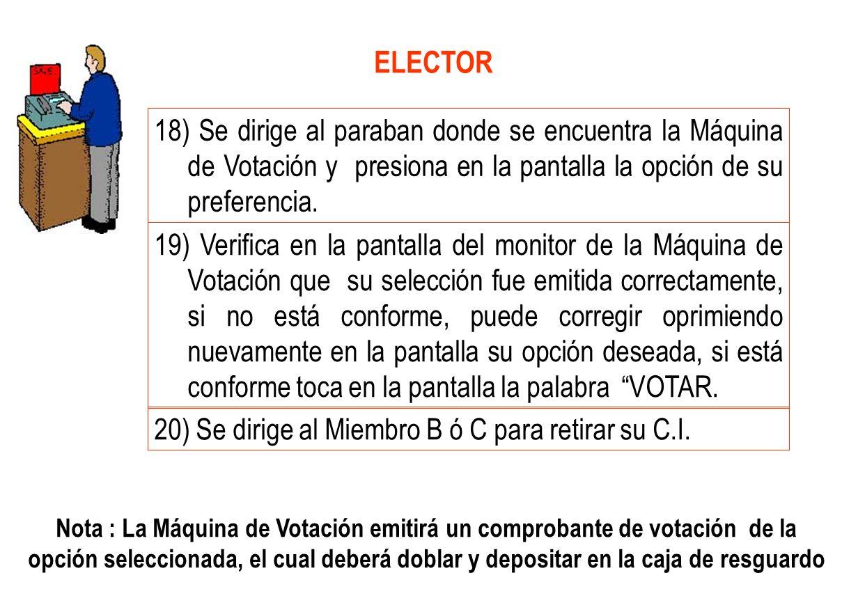 18) Se dirige al paraban donde se encuentra la Máquina de Votación y presiona en la pantalla la opción de su preferencia. 19) Verifica en la pantalla