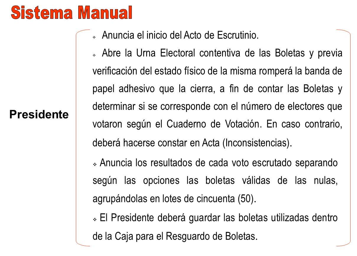 Presidente Anuncia el inicio del Acto de Escrutinio. Anuncia los resultados de cada voto escrutado separando según las opciones las boletas válidas de