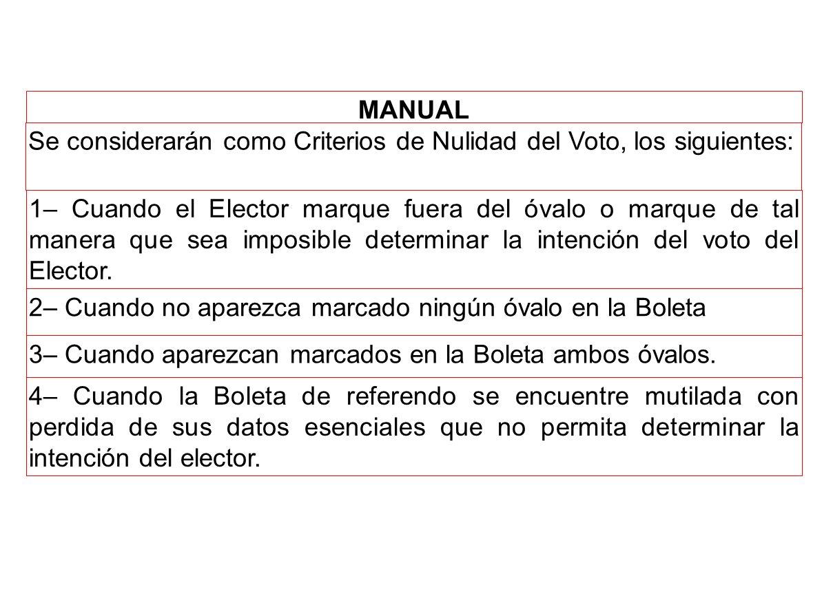 MANUAL Se considerarán como Criterios de Nulidad del Voto, los siguientes: 1– Cuando el Elector marque fuera del óvalo o marque de tal manera que sea imposible determinar la intención del voto del Elector.