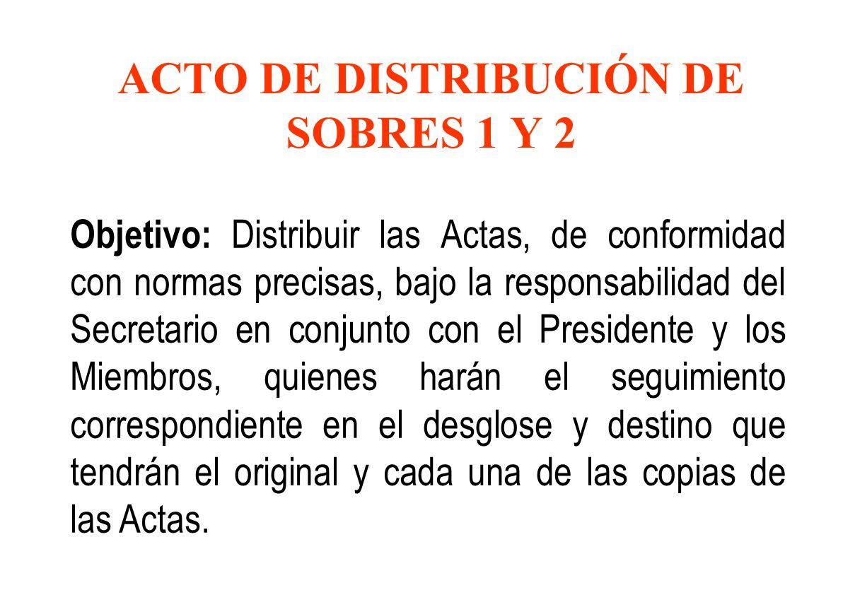 ACTO DE DISTRIBUCIÓN DE SOBRES 1 Y 2 Objetivo: Distribuir las Actas, de conformidad con normas precisas, bajo la responsabilidad del Secretario en con