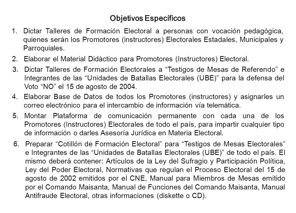 Objetivos Específicos 1.Dictar Talleres de Formación Electoral a personas con vocación pedagógica, quienes serán los Promotores (instructores) Elector