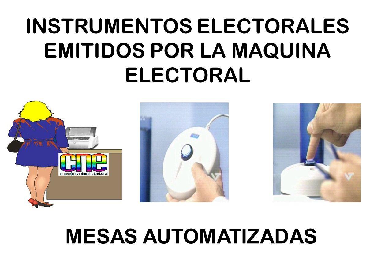 INSTRUMENTOS ELECTORALES EMITIDOS POR LA MAQUINA ELECTORAL MESAS AUTOMATIZADAS