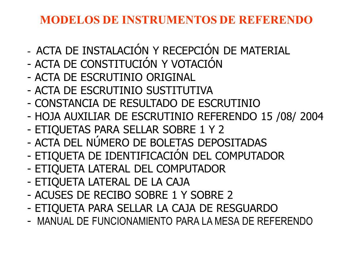 - ACTA DE INSTALACIÓN Y RECEPCIÓN DE MATERIAL - ACTA DE CONSTITUCIÓN Y VOTACIÓN - ACTA DE ESCRUTINIO ORIGINAL - ACTA DE ESCRUTINIO SUSTITUTIVA - CONSTANCIA DE RESULTADO DE ESCRUTINIO - HOJA AUXILIAR DE ESCRUTINIO REFERENDO 15 /08/ 2004 - ETIQUETAS PARA SELLAR SOBRE 1 Y 2 - ACTA DEL NÚMERO DE BOLETAS DEPOSITADAS - ETIQUETA DE IDENTIFICACIÓN DEL COMPUTADOR - ETIQUETA LATERAL DEL COMPUTADOR - ETIQUETA LATERAL DE LA CAJA - ACUSES DE RECIBO SOBRE 1 Y SOBRE 2 - ETIQUETA PARA SELLAR LA CAJA DE RESGUARDO - MANUAL DE FUNCIONAMIENTO PARA LA MESA DE REFERENDO MODELOS DE INSTRUMENTOS DE REFERENDO