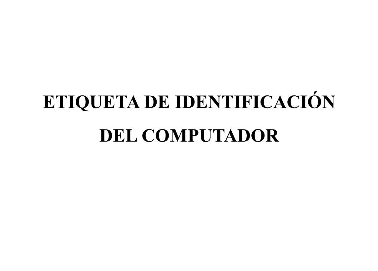 ETIQUETA DE IDENTIFICACIÓN DEL COMPUTADOR