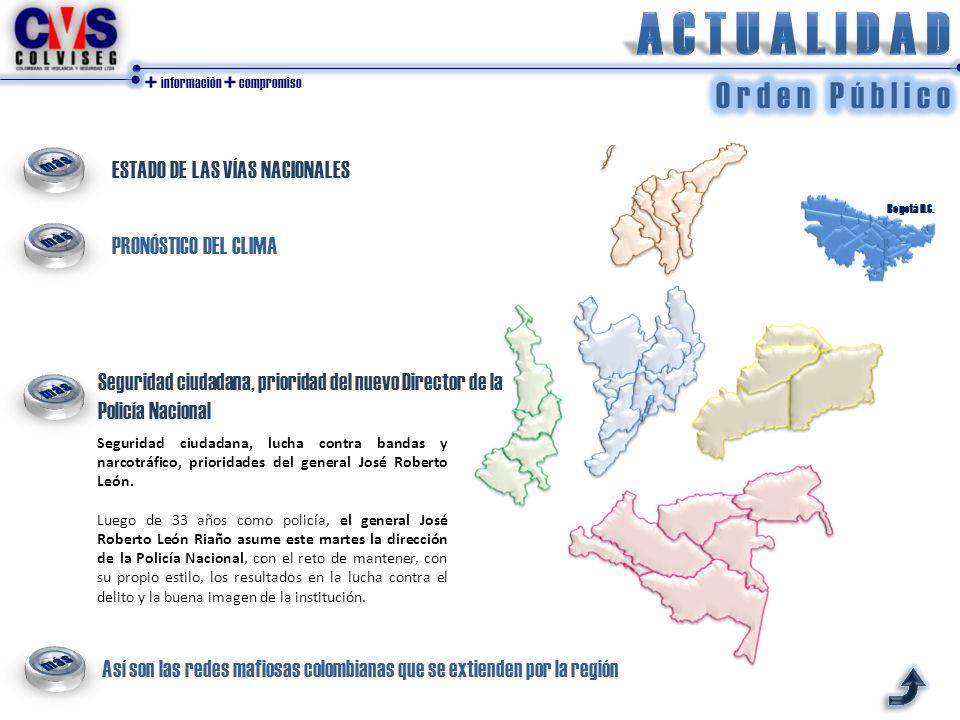 + información + compromiso ESTADO DE LAS VÍAS NACIONALES PRONÓSTICO DEL CLIMA Bogotá D.C.