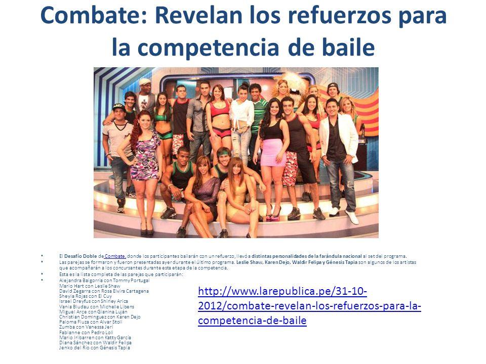 Combate: Revelan los refuerzos para la competencia de baile El Desafío Doble de Combate, donde los participantes bailarán con un refuerzo, llevó a dis