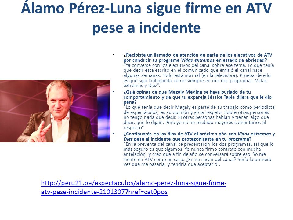 Álamo Pérez-Luna sigue firme en ATV pese a incidente ¿Recibiste un llamado de atención de parte de los ejecutivos de ATV por conducir tu programa Vida