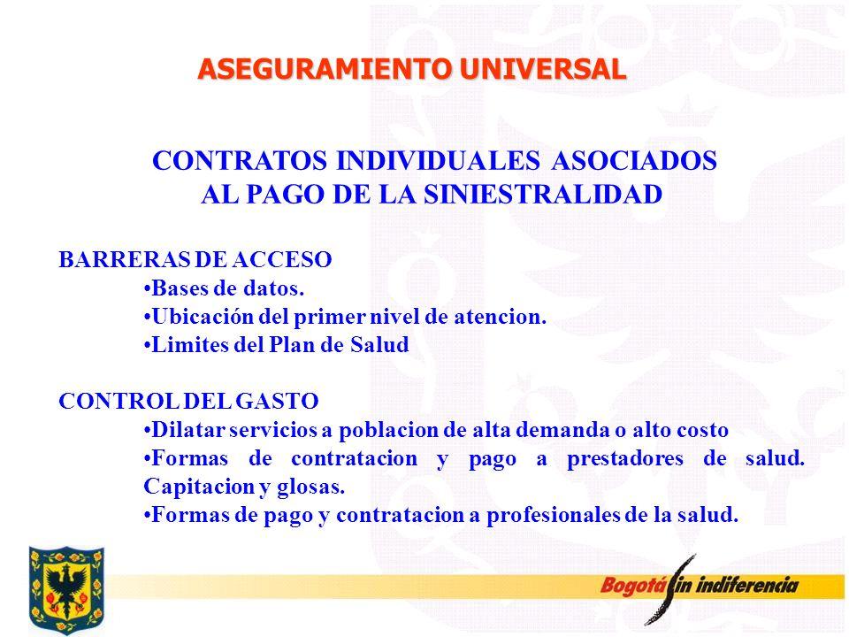 ASEGURAMIENTO UNIVERSAL CONTRATOS INDIVIDUALES ASOCIADOS AL PAGO DE LA SINIESTRALIDAD BARRERAS DE ACCESO Bases de datos. Ubicación del primer nivel de
