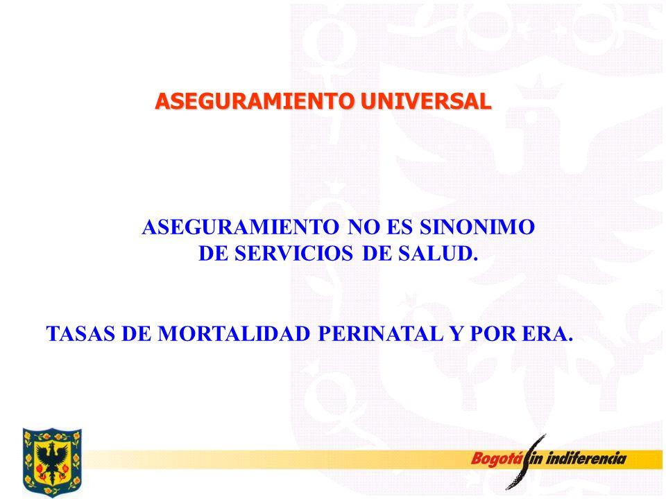 ASEGURAMIENTO UNIVERSAL ASEGURAMIENTO NO ES SINONIMO DE SERVICIOS DE SALUD. TASAS DE MORTALIDAD PERINATAL Y POR ERA.