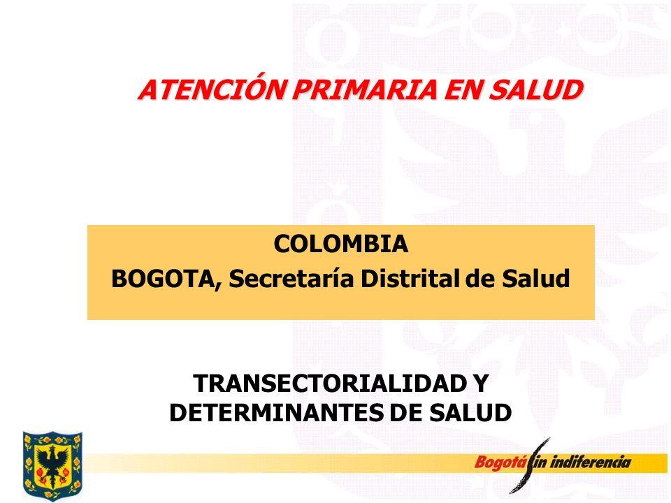 ATENCIÓN PRIMARIA EN SALUD COLOMBIA BOGOTA, Secretaría Distrital de Salud TRANSECTORIALIDAD Y DETERMINANTES DE SALUD