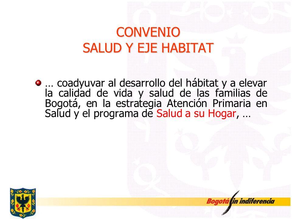 CONVENIO SALUD Y EJE HABITAT … coadyuvar al desarrollo del hábitat y a elevar la calidad de vida y salud de las familias de Bogotá, en la estrategia A