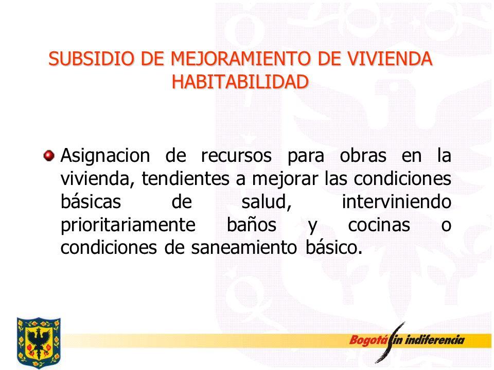 SUBSIDIO DE MEJORAMIENTO DE VIVIENDA HABITABILIDAD Asignacion de recursos para obras en la vivienda, tendientes a mejorar las condiciones básicas de s