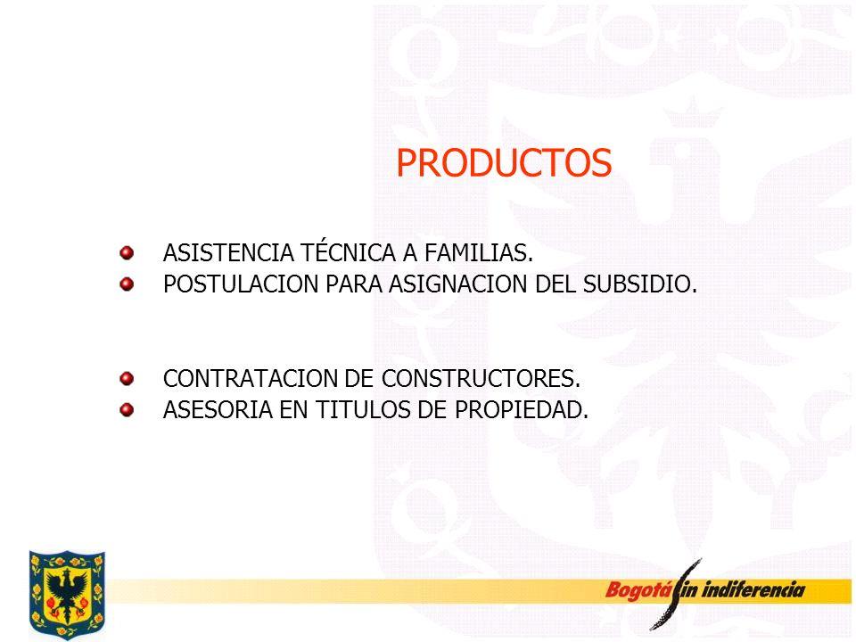 PRODUCTOS ASISTENCIA TÉCNICA A FAMILIAS. POSTULACION PARA ASIGNACION DEL SUBSIDIO. CONTRATACION DE CONSTRUCTORES. ASESORIA EN TITULOS DE PROPIEDAD.