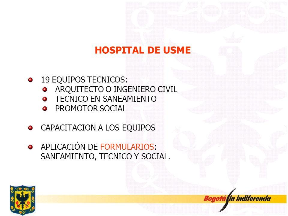 HOSPITAL DE USME 19 EQUIPOS TECNICOS: ARQUITECTO O INGENIERO CIVIL TECNICO EN SANEAMIENTO PROMOTOR SOCIAL CAPACITACION A LOS EQUIPOS APLICACIÓN DE FOR