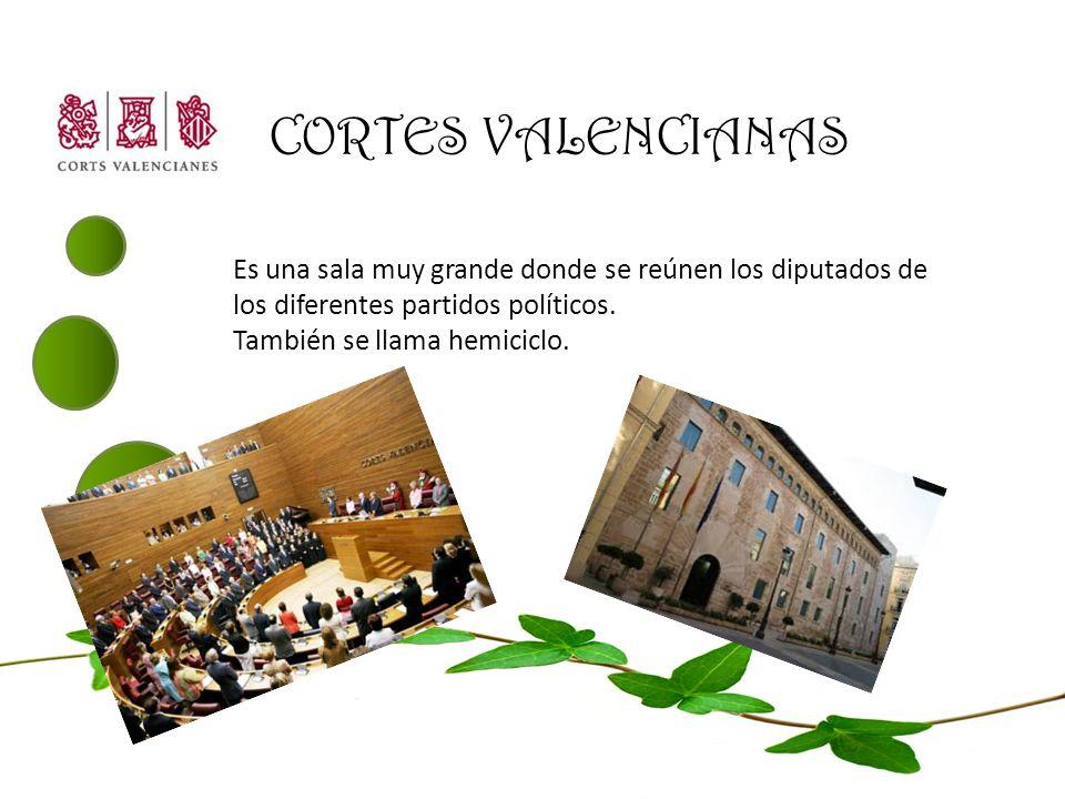 CORTES VALENCIANAS Es una sala muy grande donde se reúnen los diputados de los diferentes partidos políticos. También se llama hemiciclo.