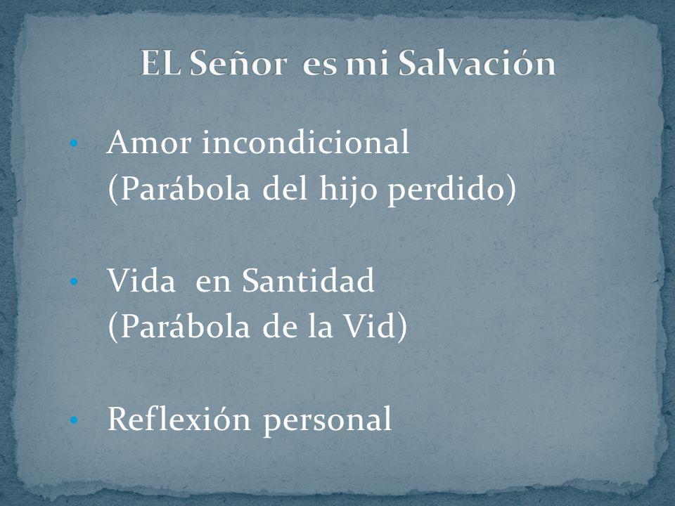 Amor incondicional (Parábola del hijo perdido) Vida en Santidad (Parábola de la Vid) Reflexión personal