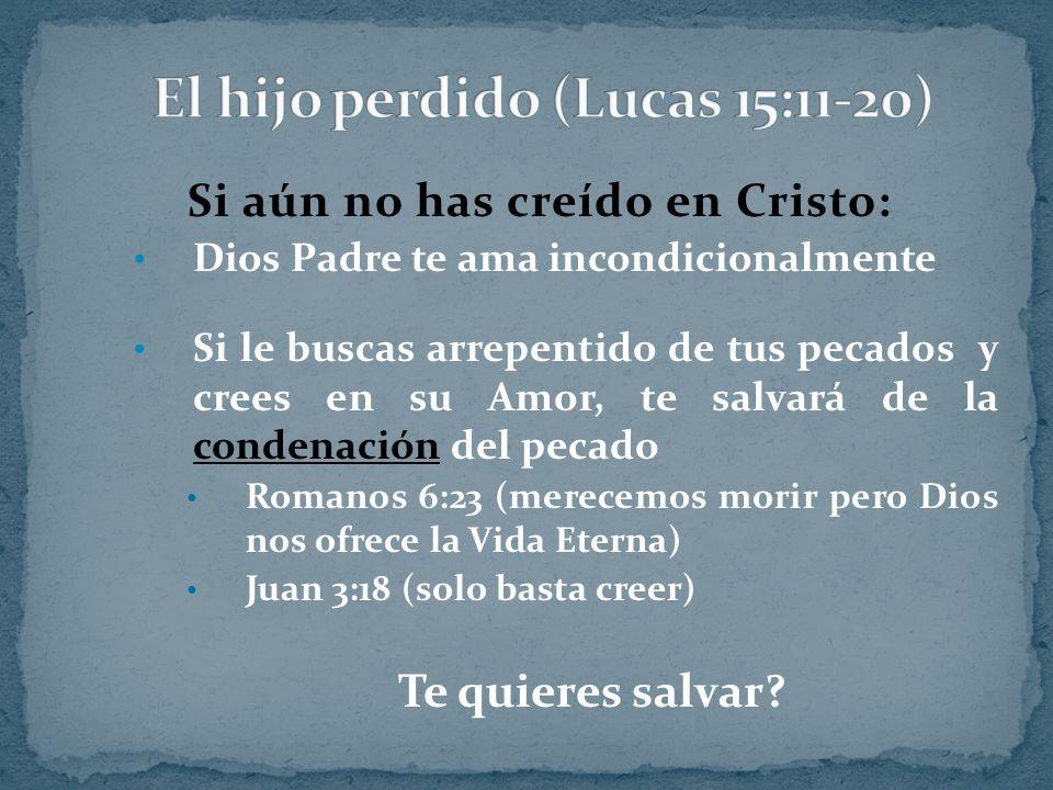 Si aún no has creído en Cristo: Dios Padre te ama incondicionalmente Si le buscas arrepentido de tus pecados y crees en su Amor, te salvará de la cond
