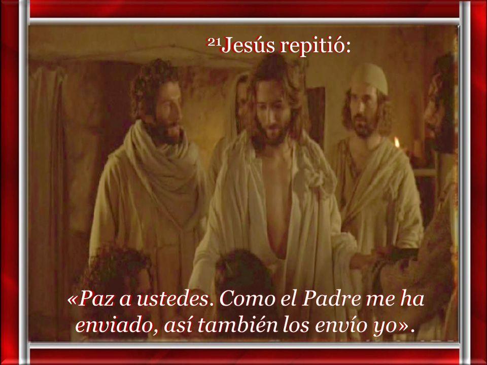20 Y, diciendo esto, les enseñó las manos y el costado. Y los discípulos se llenaron de alegría al ver al Señor.