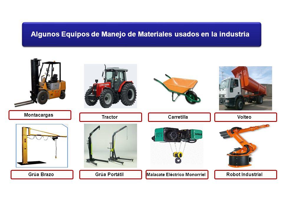 Algunos Equipos de Manejo de Materiales usados en la industria MontacargasGrúa BrazoTractorGrúa PortátilCarretilla Malacate Eléctrico Monorriel Volteo