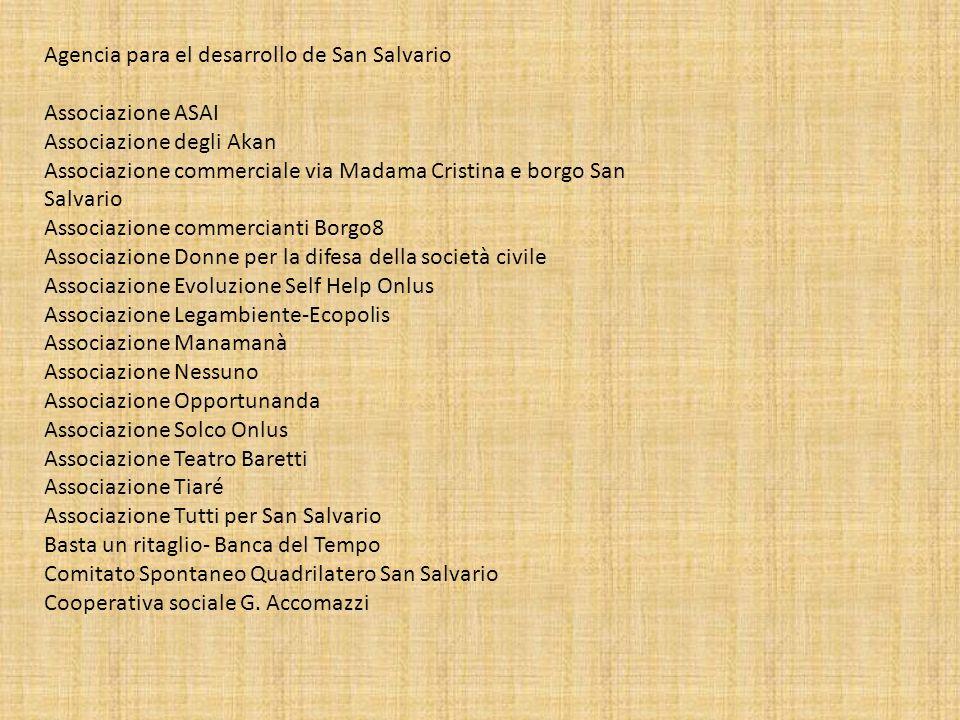 Agencia para el desarrollo de San Salvario Associazione ASAI Associazione degli Akan Associazione commerciale via Madama Cristina e borgo San Salvario