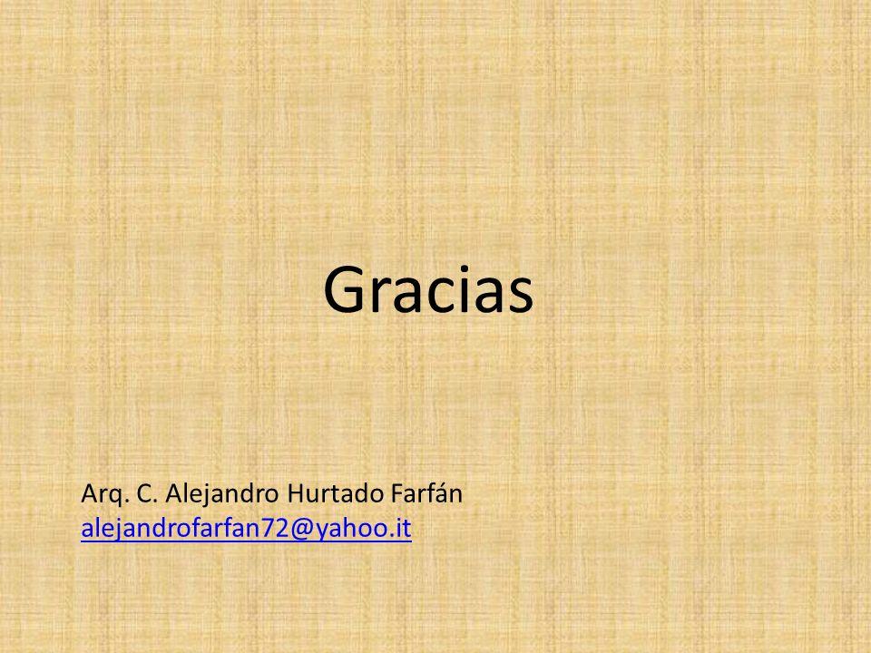 Gracias Arq. C. Alejandro Hurtado Farfán alejandrofarfan72@yahoo.it