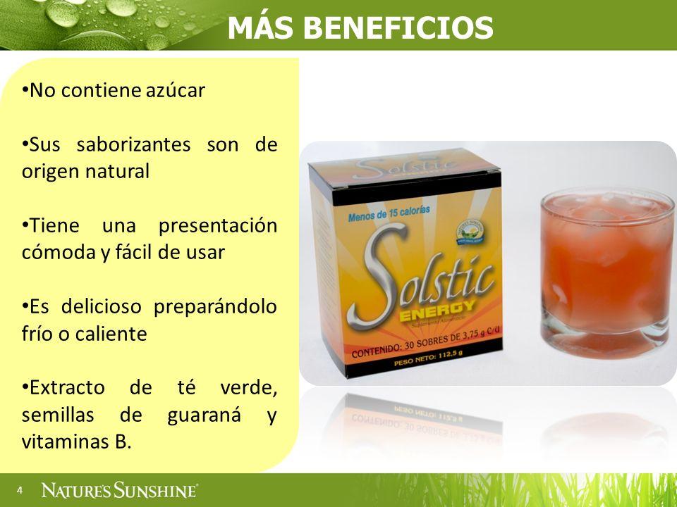 4 No contiene azúcar Sus saborizantes son de origen natural Tiene una presentación cómoda y fácil de usar Es delicioso preparándolo frío o caliente Extracto de té verde, semillas de guaraná y vitaminas B.