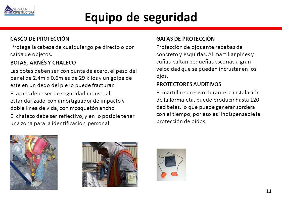 GAFAS DE PROTECCIÓN Protección de ojos ante rebabas de concreto y esquirlas. Al martillar pines y cuñas saltan pequeñas escorias a gran velocidad que