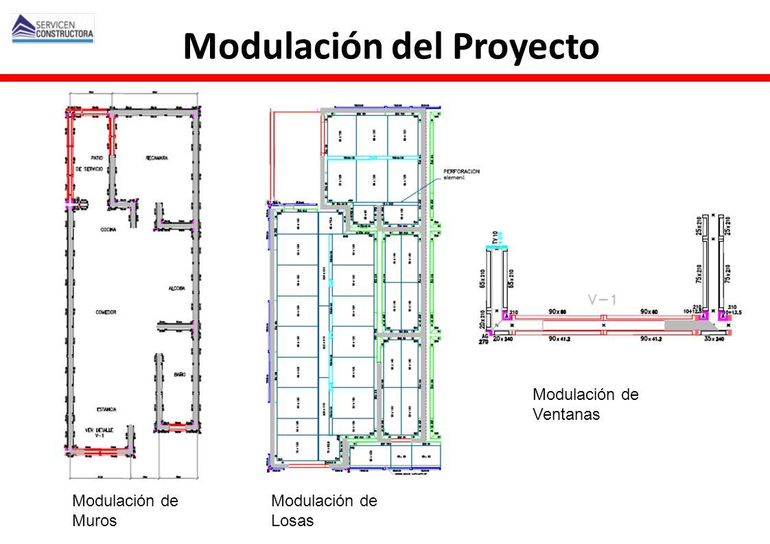Modulación de Muros Modulación de Losas Modulación de Ventanas Modulación del Proyecto
