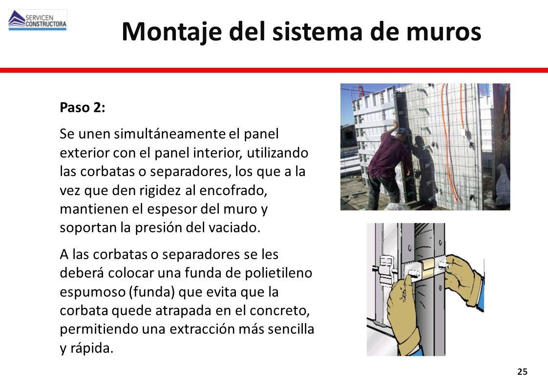 Paso 2: Se unen simultáneamente el panel exterior con el panel interior, utilizando las corbatas o separadores, los que a la vez que den rigidez al en