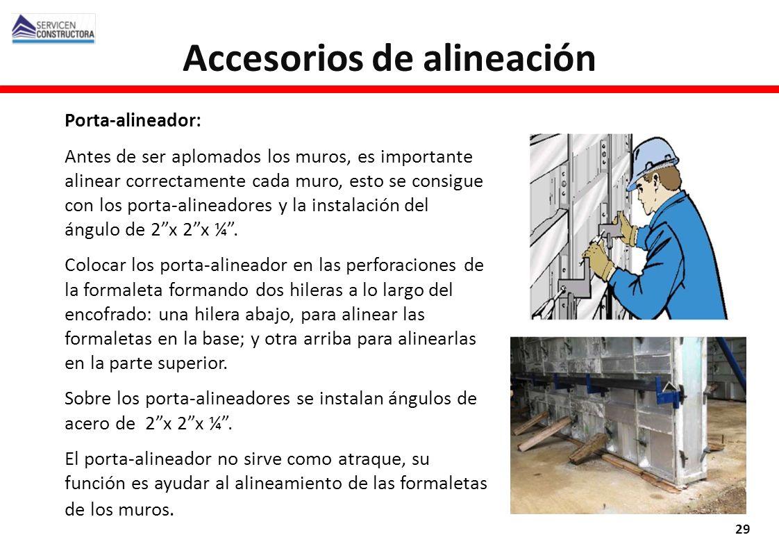 Porta-alineador: Antes de ser aplomados los muros, es importante alinear correctamente cada muro, esto se consigue con los porta-alineadores y la inst