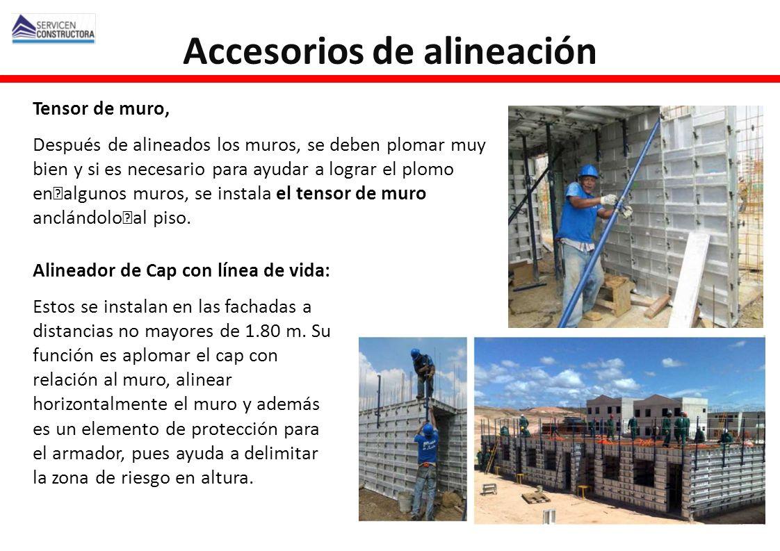 Tensor de muro, Después de alineados los muros, se deben plomar muy bien y si es necesario para ayudar a lograr el plomo en algunos muros, se instala