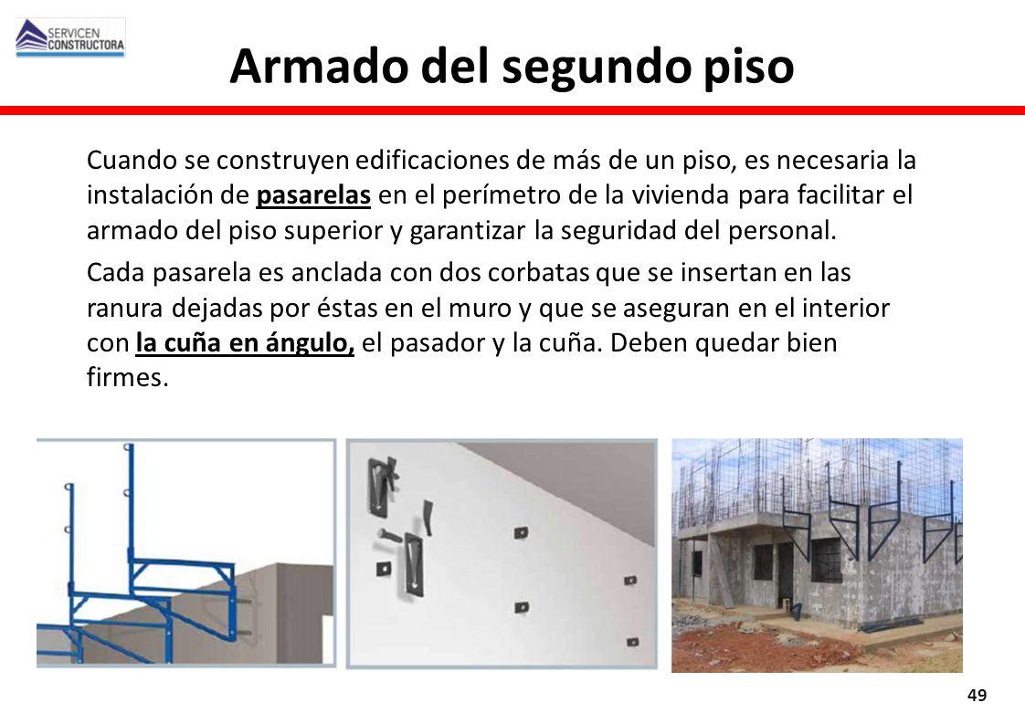 Cuando se construyen edificaciones de más de un piso, es necesaria la instalación de pasarelas en el perímetro de la vivienda para facilitar el armado