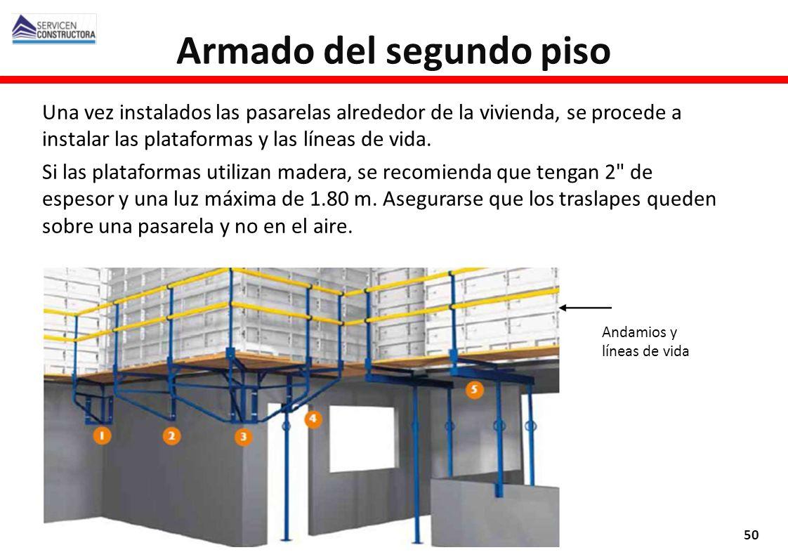 Armado del segundo piso 50 Una vez instalados las pasarelas alrededor de la vivienda, se procede a instalar las plataformas y las líneas de vida. Si l