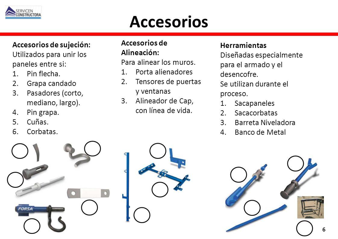 Accesorios de sujeción: Utilizados para unir los paneles entre si: 1.Pin flecha. 2.Grapa candado 3.Pasadores (corto, mediano, largo). 4.Pin grapa. 5.C