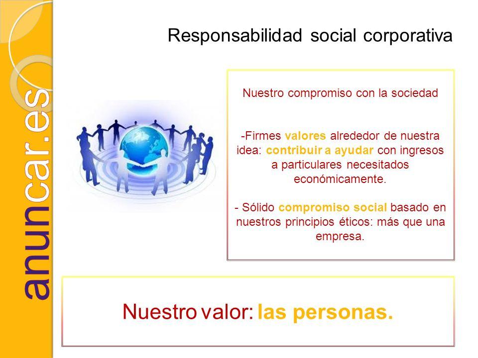 Responsabilidad social corporativa Nuestro compromiso con la sociedad -Firmes valores alrededor de nuestra idea: contribuir a ayudar con ingresos a pa