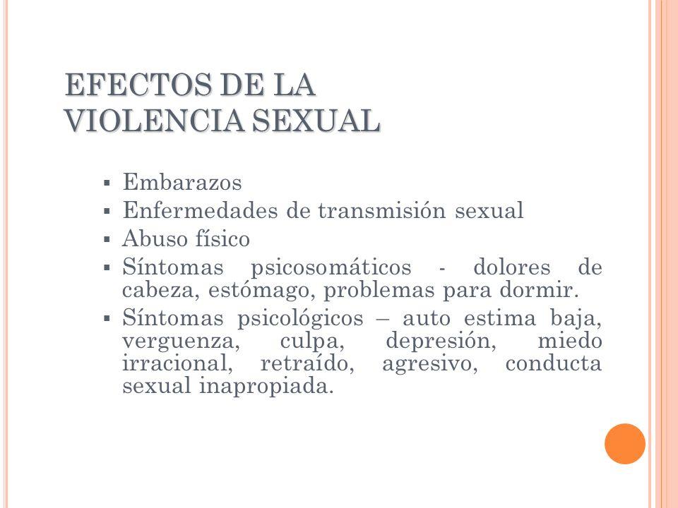 EFECTOS DE LA VIOLENCIA SEXUAL Embarazos Enfermedades de transmisión sexual Abuso físico Síntomas psicosomáticos - dolores de cabeza, estómago, proble