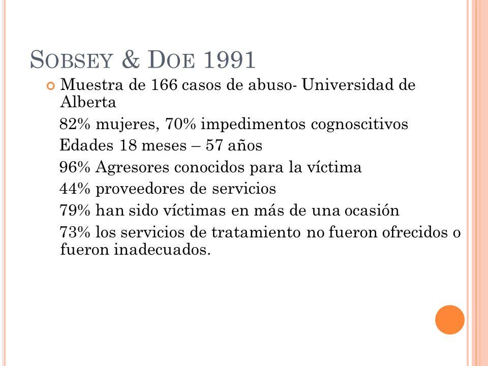 S OBSEY & D OE 1991 Muestra de 166 casos de abuso- Universidad de Alberta 82% mujeres, 70% impedimentos cognoscitivos Edades 18 meses – 57 años 96% Ag
