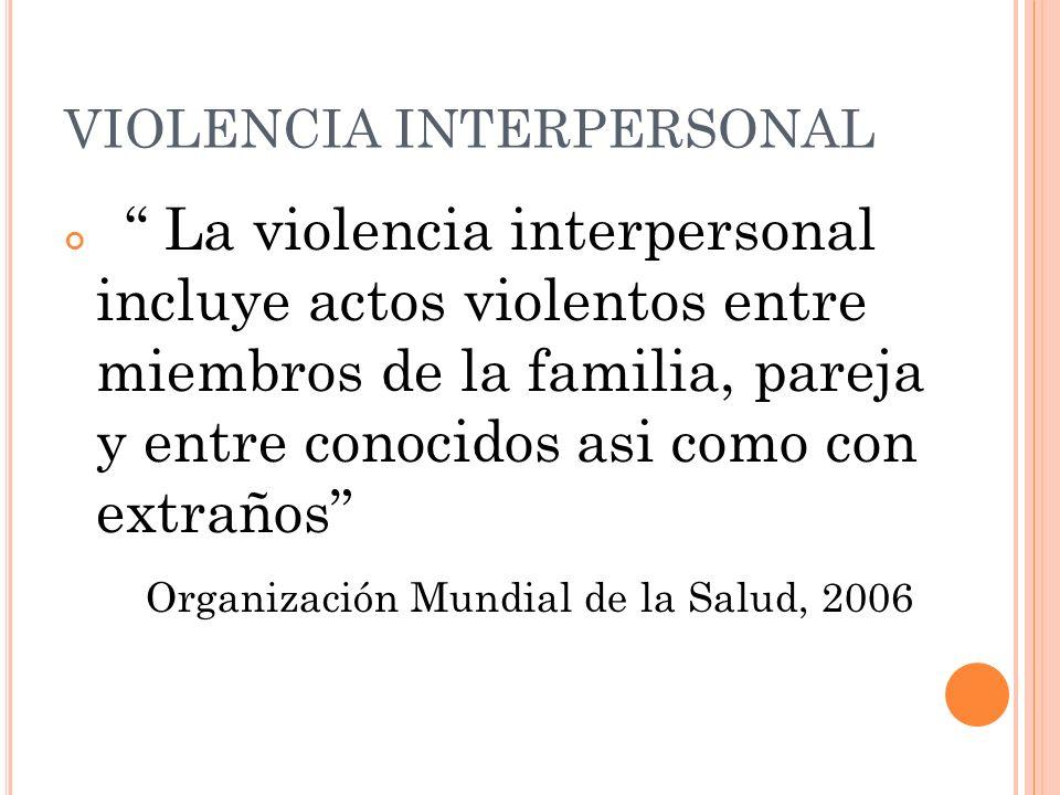 VIOLENCIA INTERPERSONAL La violencia interpersonal incluye actos violentos entre miembros de la familia, pareja y entre conocidos asi como con extraño