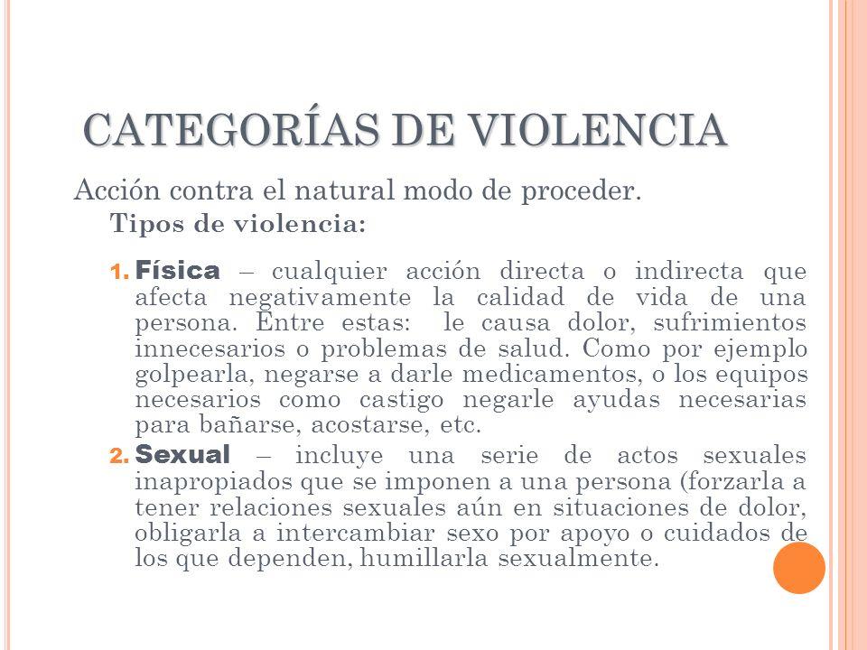 CATEGORÍAS DE VIOLENCIA Acción contra el natural modo de proceder. Tipos de violencia: 1. Física – cualquier acción directa o indirecta que afecta neg