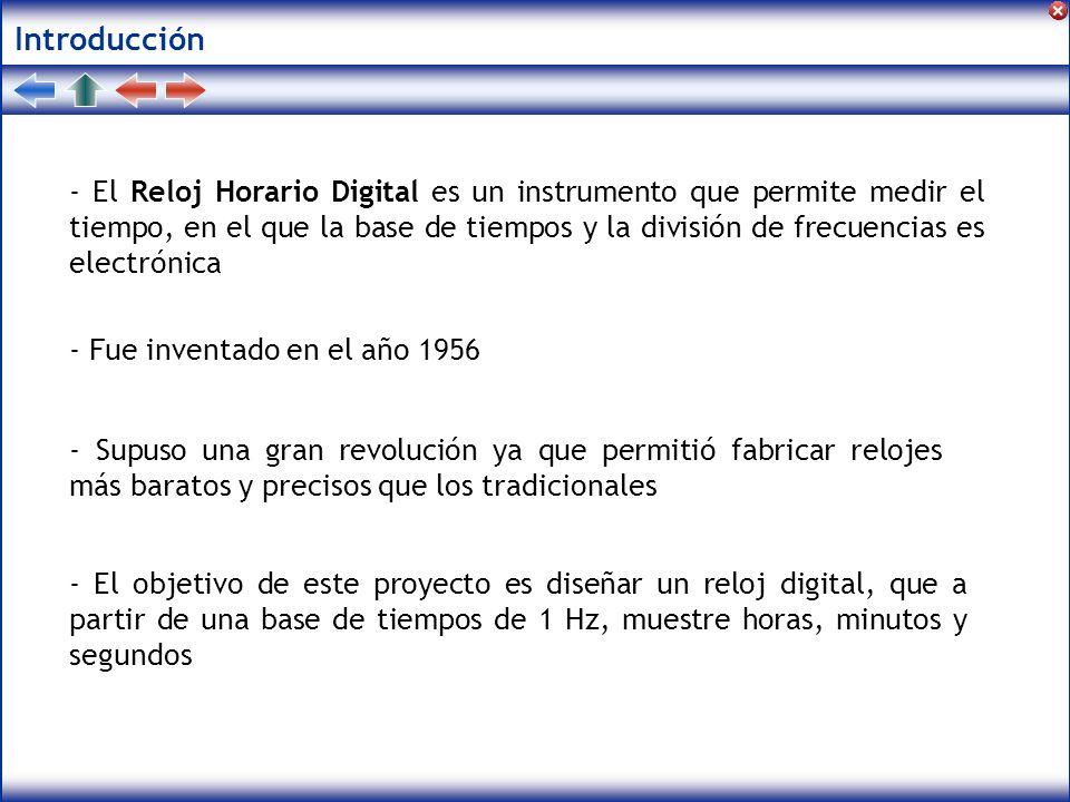 Introducción - El Reloj Horario Digital es un instrumento que permite medir el tiempo, en el que la base de tiempos y la división de frecuencias es el