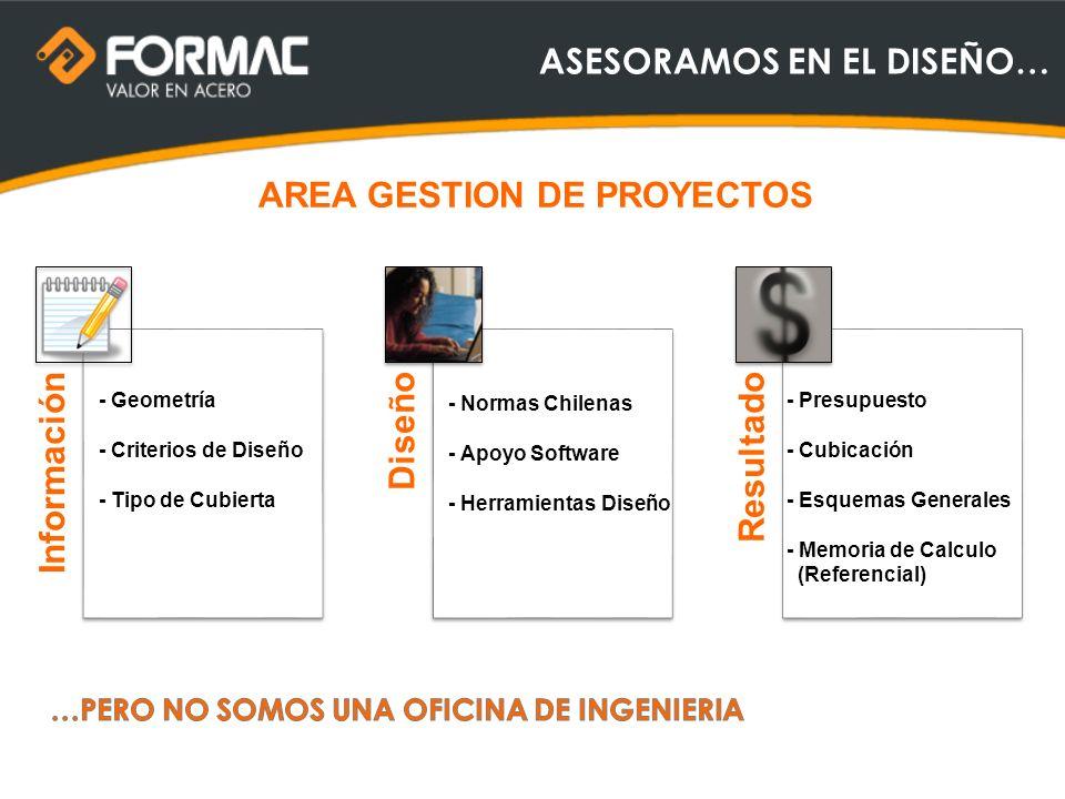 ASESORAMOS EN EL DISEÑO… InformaciónDiseñoResultado AREA GESTION DE PROYECTOS - Geometría - Criterios de Diseño - Tipo de Cubierta - Normas Chilenas -