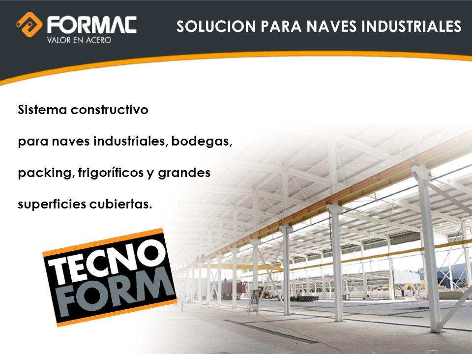Sistema constructivo para naves industriales, bodegas, packing, frigoríficos y grandes superficies cubiertas. SOLUCION PARA NAVES INDUSTRIALES