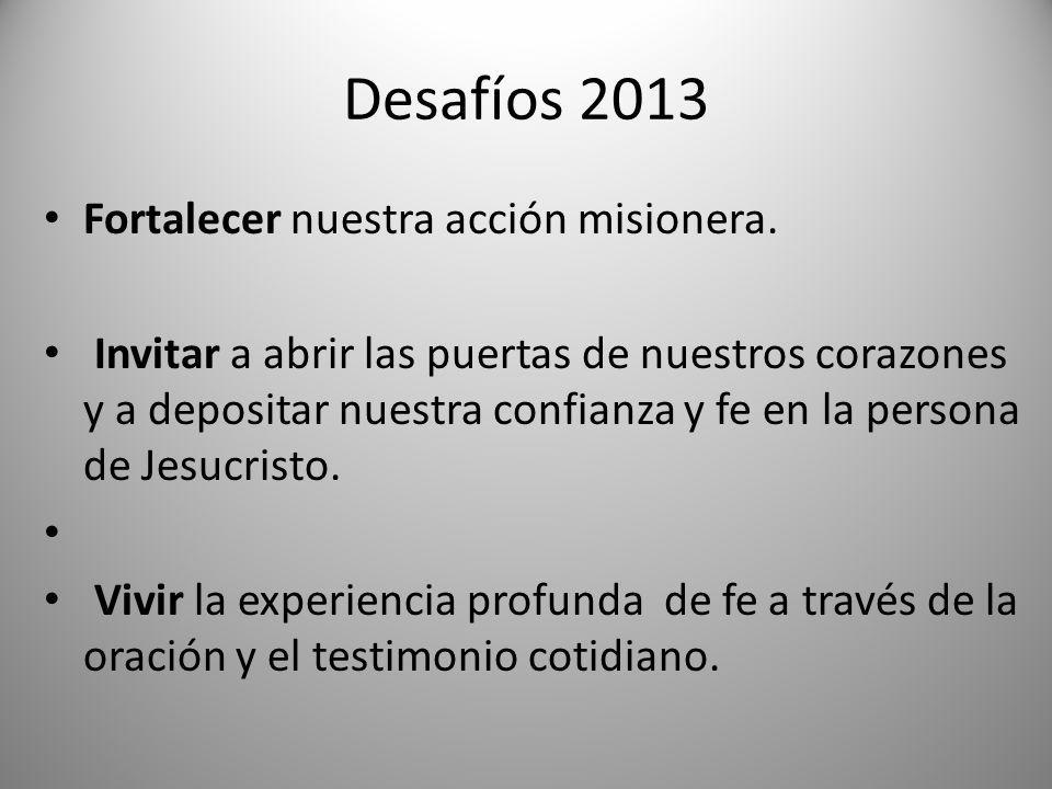 Desafíos 2013 Fortalecer nuestra acción misionera.