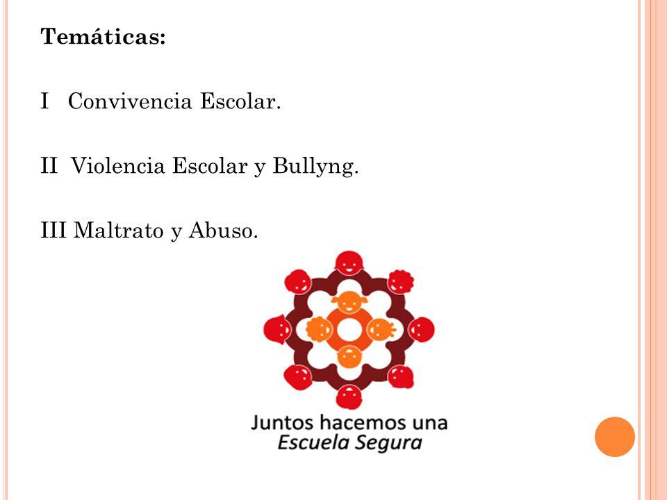 Temáticas: I Convivencia Escolar. II Violencia Escolar y Bullyng. III Maltrato y Abuso.
